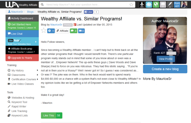 Wealthy Affiliate Review!